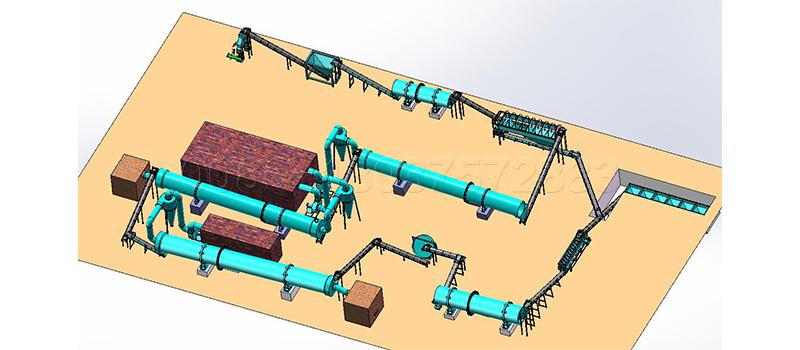 Chicken poo fertilizer production line with new type organic fertilizer drum granulator