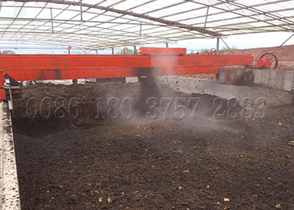 Wheel type compost turner for chicken poop compost production large sacale