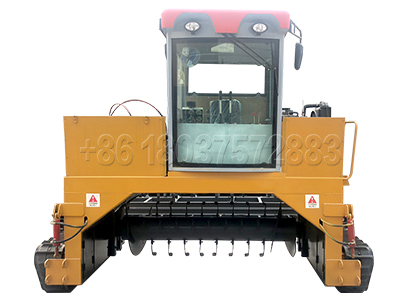 Crawler type compost turner for chicken waste disposal